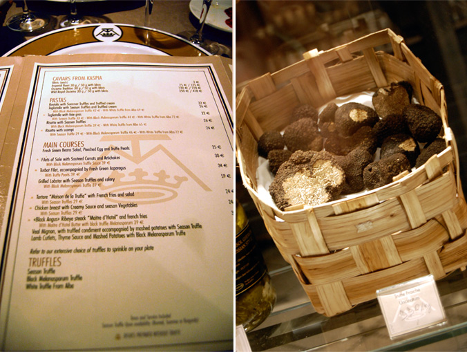 Menu and truffles
