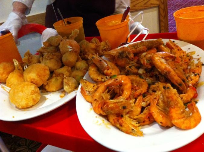 Fried crab balls and Szechuan shrimp