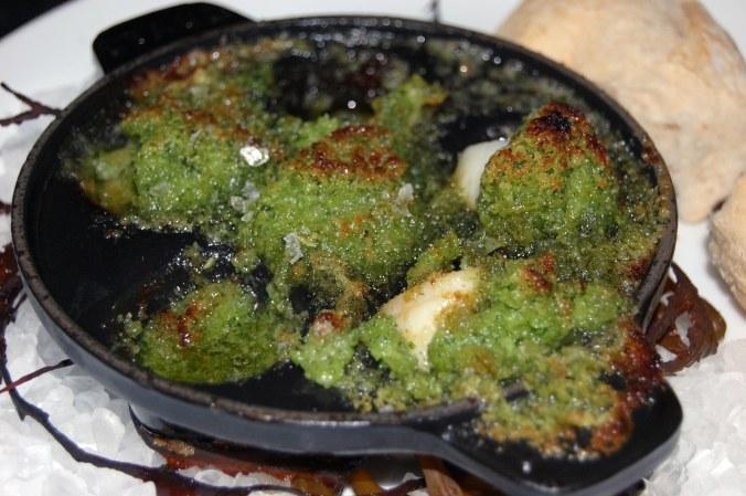 Bay Scallops Bourguignon, Shiso Garlic Butter, Sea Salt, Baguette