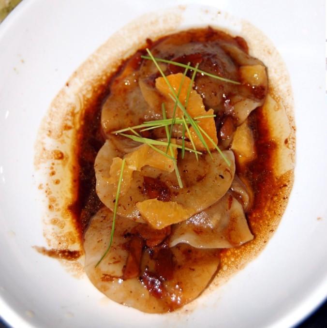 Duck & Pumpkin Dumplings, Orange, Almond, Cinnamon, Soy Brown Butter