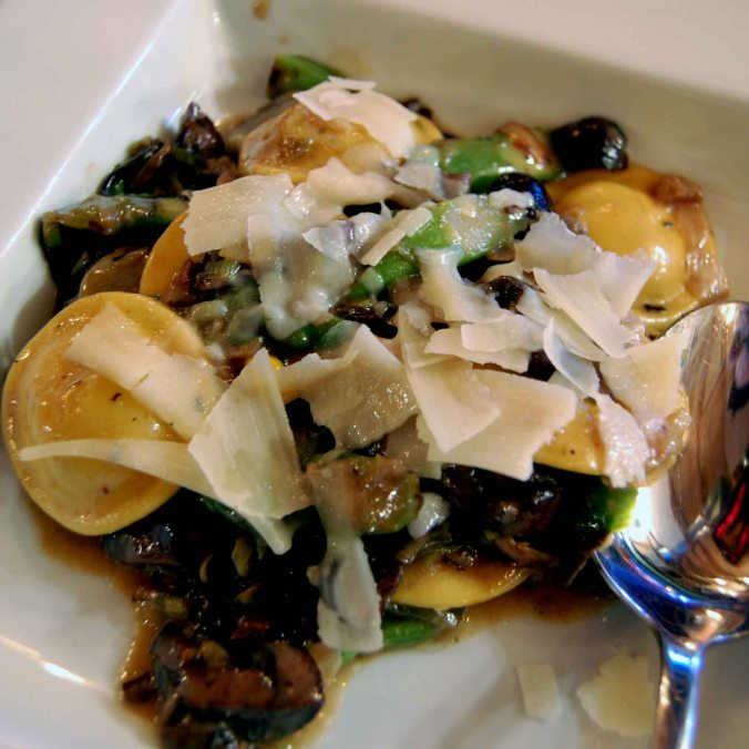 Ravioli with Shaved Parm and Roasted Mushrooms