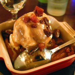 Sticky Icky Buns with Pecans, Candied Bacon, Caramel & Pecan Praline Ice Cream