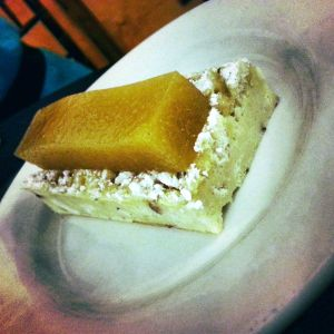 Almond tart with peach gel