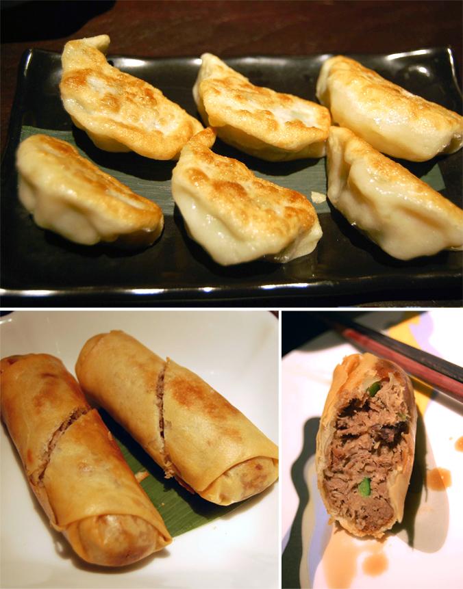 Foie gras dumplings & duck rolls