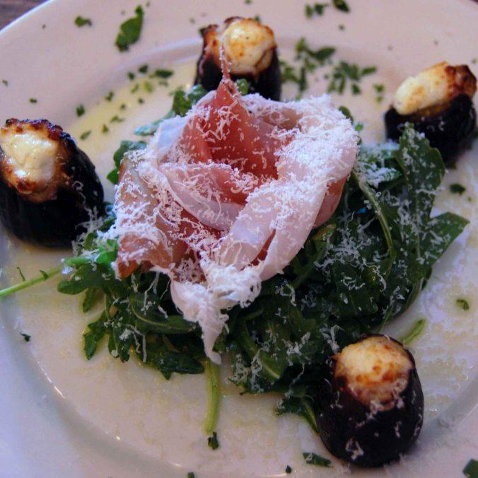 Goat Cheese Stuffed Figs, Arugula & Proscuitto