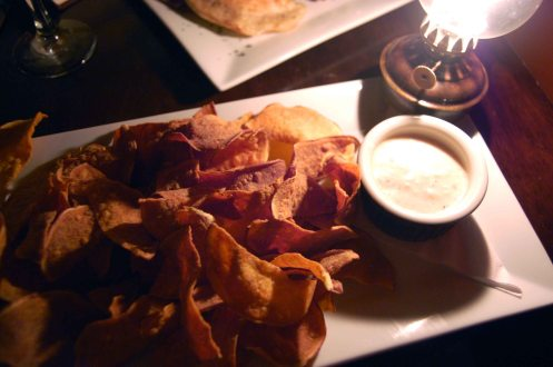 Sweet Potato Chips with Smoked Onion Sauce