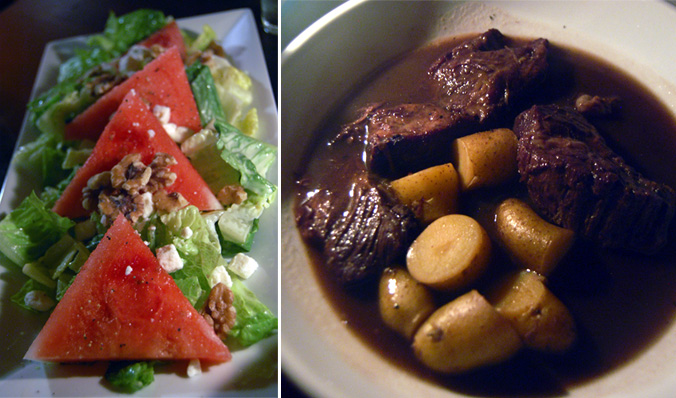 Watermelon salad & braised short ribs