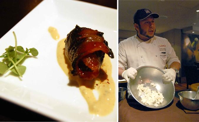 da Campo Osteria wrapped date & chef Steven Acosta
