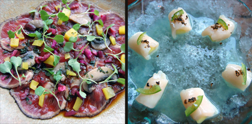 Akaushi carpaccio and scallop crudo