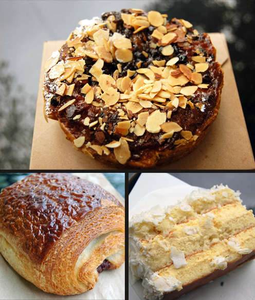Frangipane tart, double pain au chocolat, passion fruit lime cake
