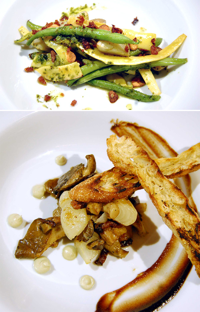 Pole beans with potato confit & roasted mushroom with bacon and bone marrow