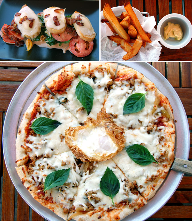 Tartine, frites, spicy basil pizza