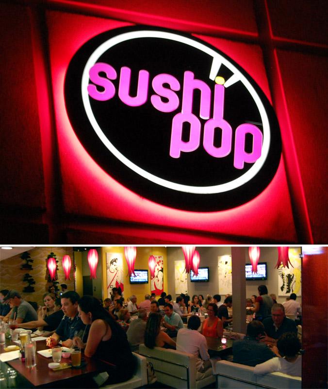 Sushi Pop sign & interior