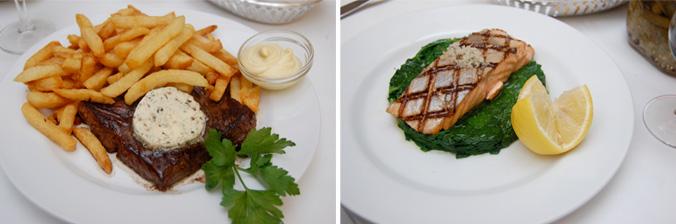 L'Express hanger steak & salmon