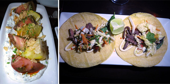 Gallows heirloom tomatoes and short rib tacos