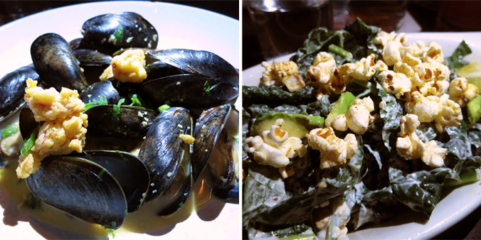 Gallows mussels and kale salad